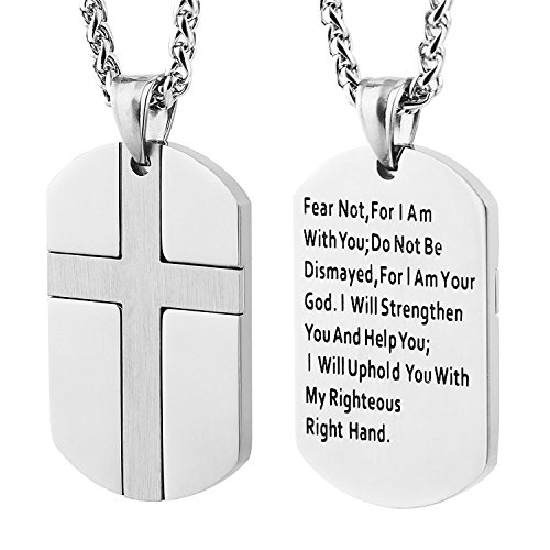 Molike Stainless Steel Men S Cross And Bible Verse Prayer